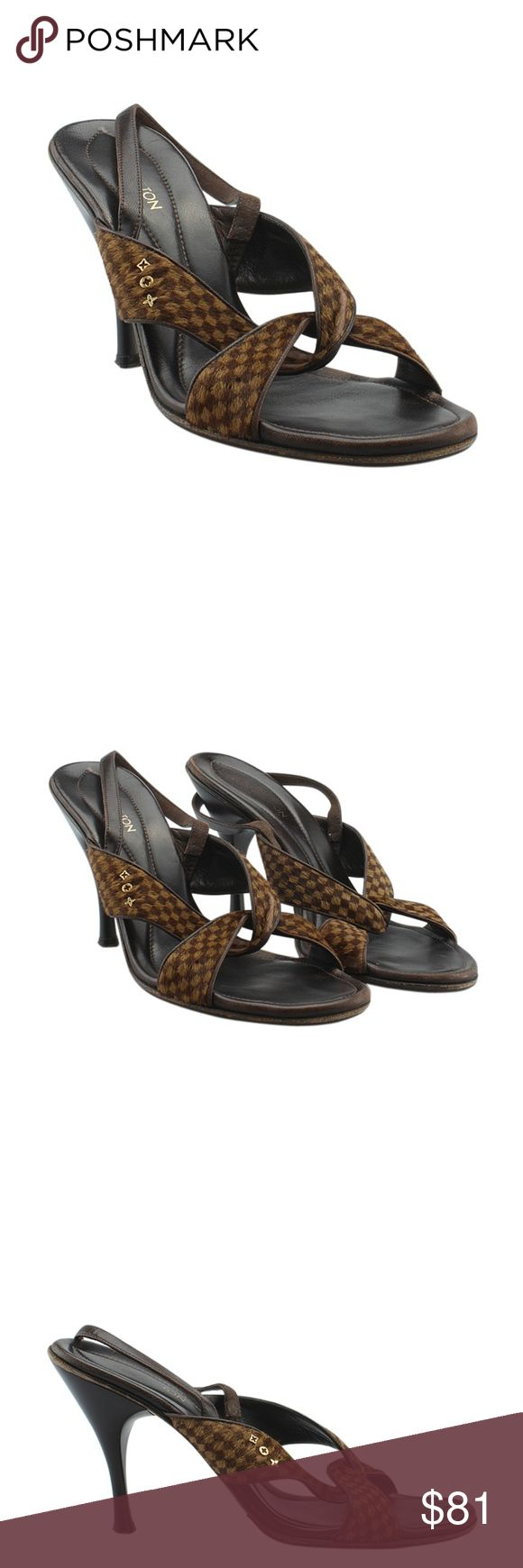 Louis Vuitton Damier Ebene Sandals (141905) These Louis Vuitton sandals feature: •Exterior bottom soles show wear & have been re-soled •Has worn heel lifts •Leather uppers show scuffing/wear •Cross straps show missing & faded pony hair in various locations •Slingback straps are worn •Interior shows scuffing/wear  •We have converted these from a European 41 to a US 11 •Exterior Condition: Gently Used •Interior Condition: Gently Used •Material: Leather/Pony Hair •Origin: Italy •Hardware…