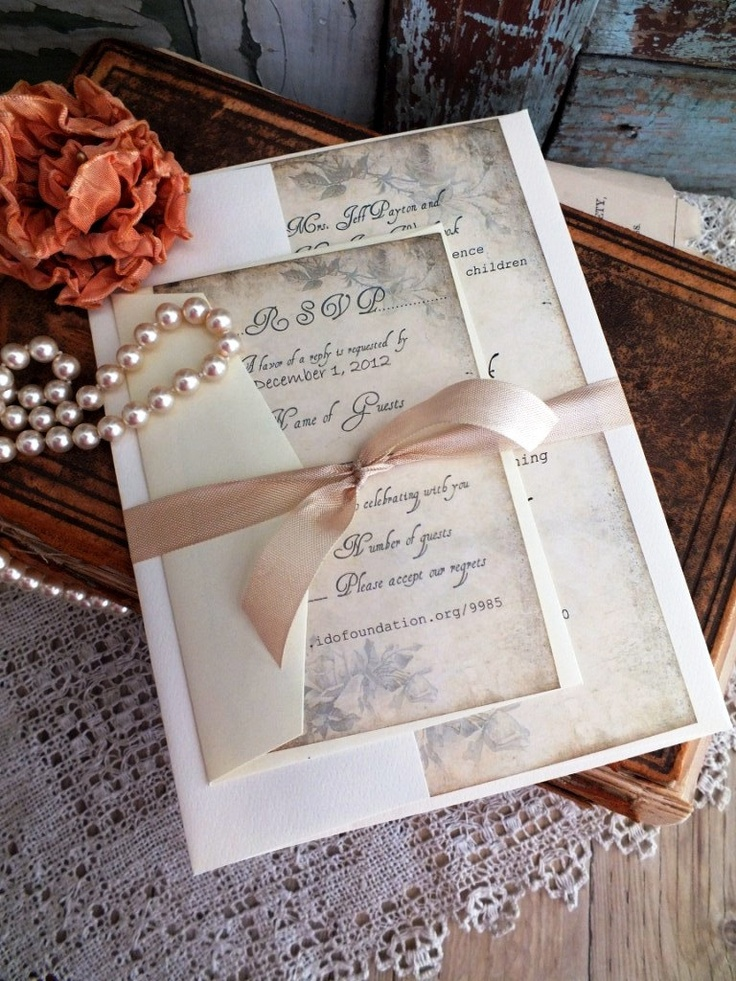 Vintage Romantic Antique Wedding Invitation Suite Sample Handmade by avintageobsession on etsy. $5.00, via Etsy.