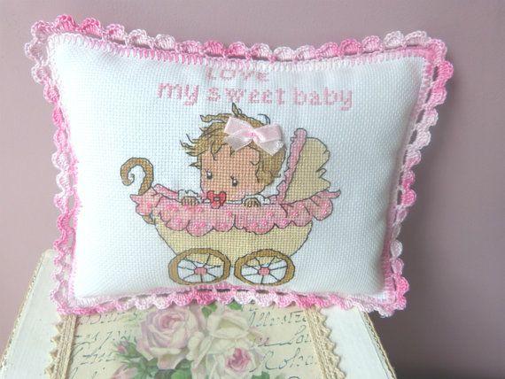 Love New Baby Girl New Baby Pillow New by CrossStitchElizabeth