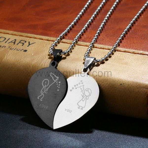 Love you Matching Half Hearts Pendants for Girlfriend ...