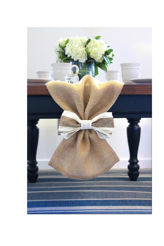 Photo of Burlap Table Runners with Bows – Fully Lined – High Quality Jute Table Runners – Includes Bows – Made in USA