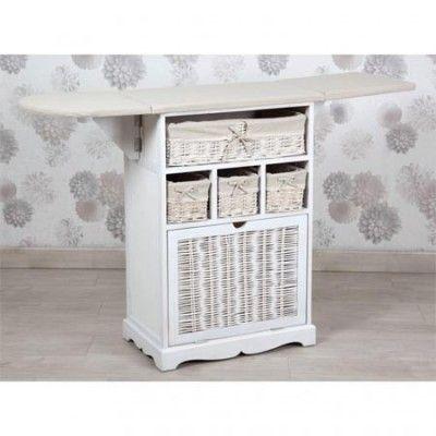 Mueble planchador de madera en color blanco