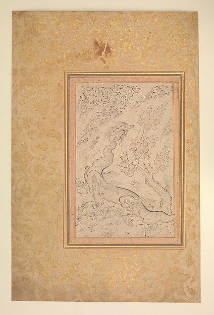 Attributed to Sadiqi Beg | Dragon and Clouds | The Met