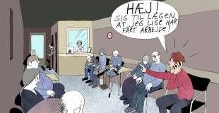 Rapport. Alt for mange oplever ulighed i det danske sygehusvæsen. Tegning: Anne-Marie Steen Petersen