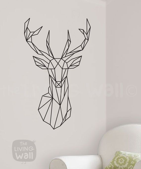 "Geometric Deer Head Wall Decal.  Measurements: 51,5cm x 86,5cm / 20.3 x 34.1  Color Options: *Important* Please specify your choice of color in the ""message to seller"" box, if not specified you will be sent the color used in the photo; Gold Metallic. Installation: The installation of my wall stickers is a simple procedure that requires some attention to detail on your part to obtain the best results. Detailed instructions and an application squeegee will be sent to you along with a free…"