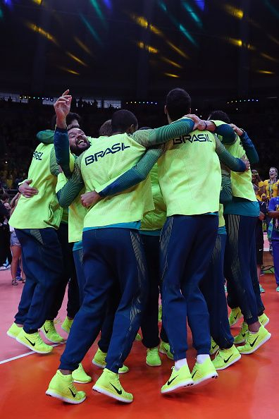 Gold medalist team Brazil celebrate following the medal ceremony of the Men's…