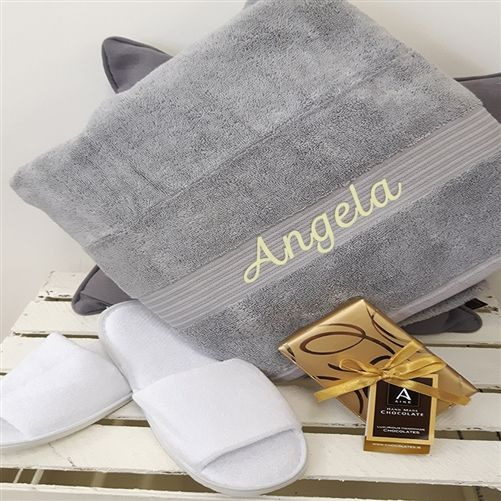 Pamper Set for Mother's Day, included Personalised Hand Towel, Slippers and delicious chocolates. WowWee.ie | €35