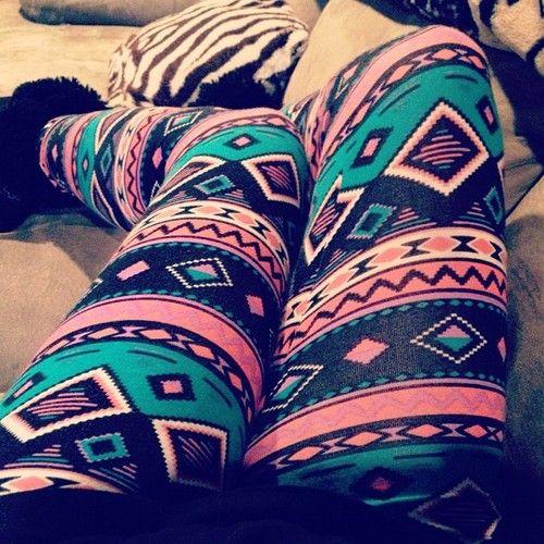 Aztec leggings. <3 with a long shirt