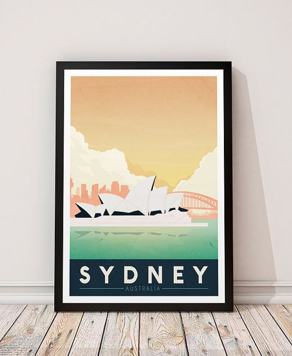 Sydney print Poster Wall art Australia poster by ShopTempsModernes