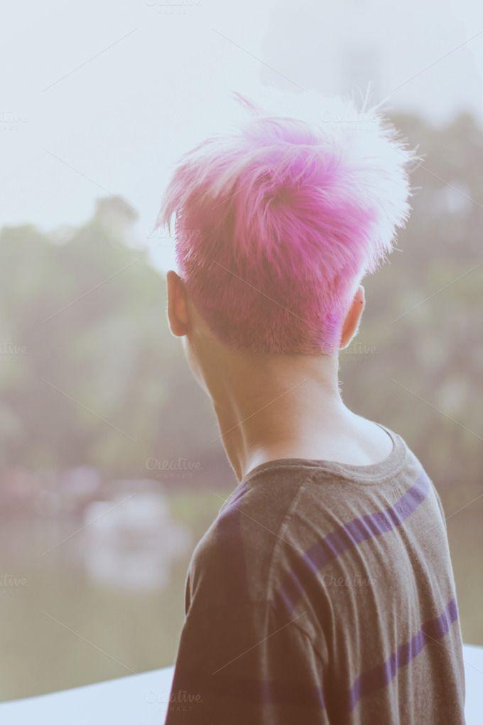 Pink hair boy by Nuchylee Photo on Creative Market