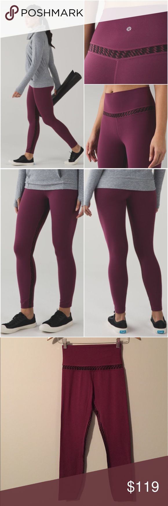 Lululemon Original Align Pant Lululemon Original Align Pant in the color Red Grape/Shifted Horizon Red Grape Black, size 6, excellent condition with no flaws(meaning no piling/seam damage/rips/holes/stains/etc).      Nulu fabric is buttery soft, lightweight, four way stretch and sweat wicking. Added Lycra fibre for great shape retention. High rise. These make your booty look great! Bundle to save 10% off ❤ lululemon athletica Pants Ankle & Cropped