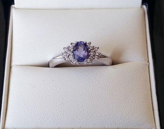 Tanzanite Ring Diamond Ring Purple Engagement Ring by ArahJames