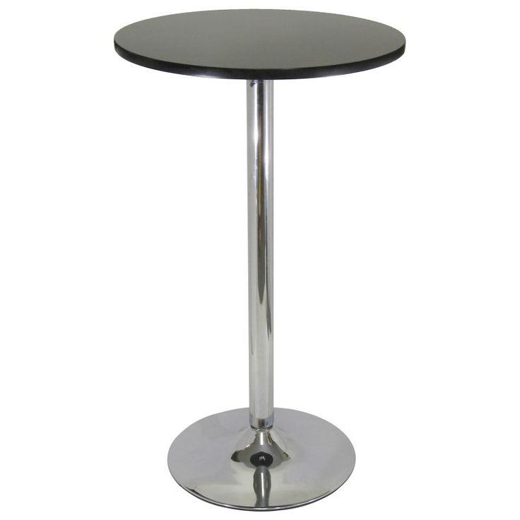Metro Round Pub Table-Black with Chrome - 93624