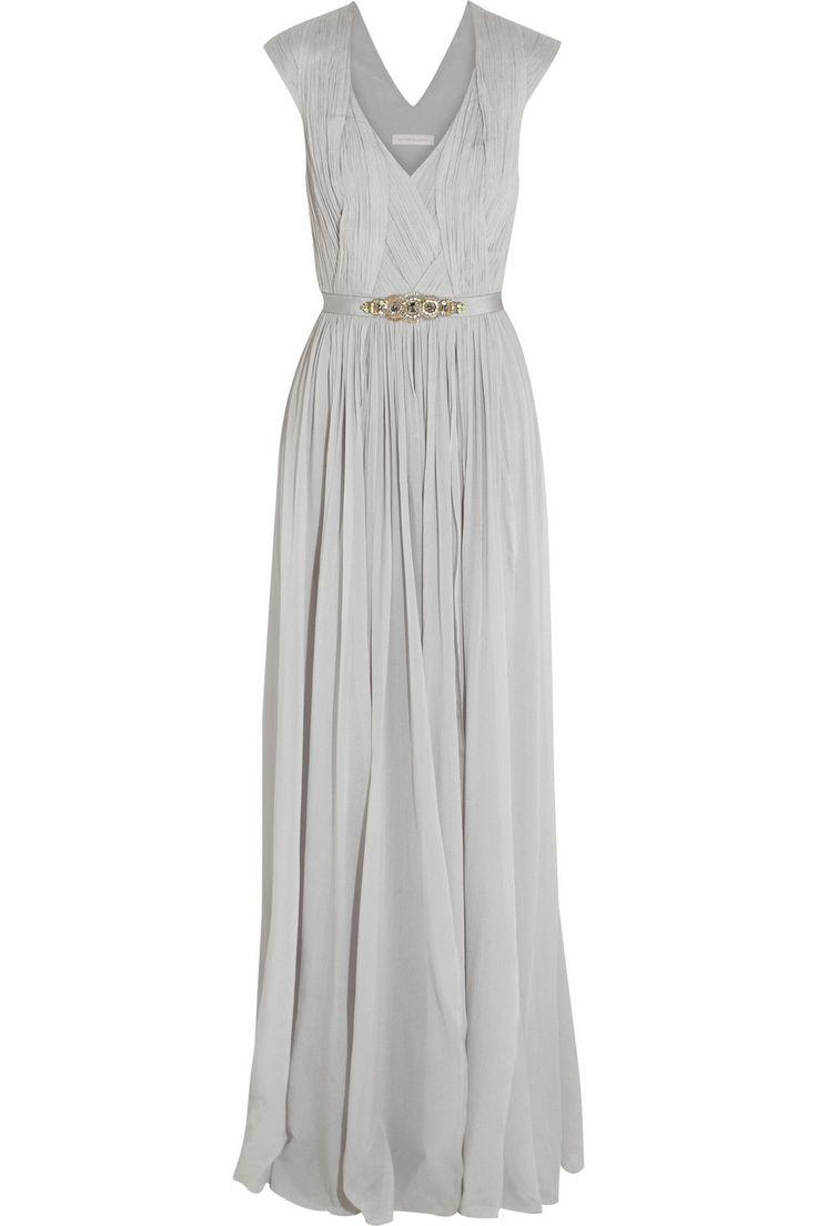 Matthew williamson embellished stretch silk georgette for Silk georgette wedding dress