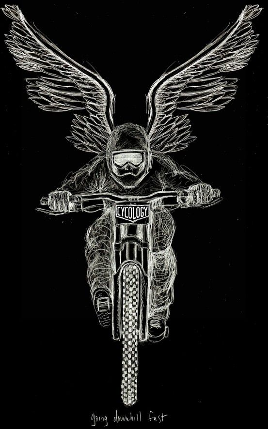 "we received a message from one of our facebook friends asking when we were going to do a Downhill MTB tee shirt. I drew a sketch in the car and then when I got home watched a few Downhill youtube vids to get in-the-mood. This was pretty scatchy, with lead pencil on paper to try and convey the sense of speed, air, adrenaline & endorphin, of ""flying' down these mental slopes, stairs & jumps, dodging people, dogs, trees..anthing & everything thrown at them."