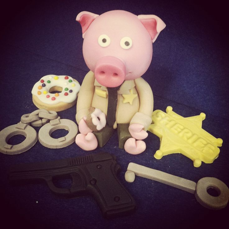 Handcuffs And Gun Cake Toppers