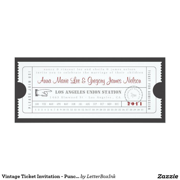 De vintage Uitnodiging van het Kaartje - Ponskaart