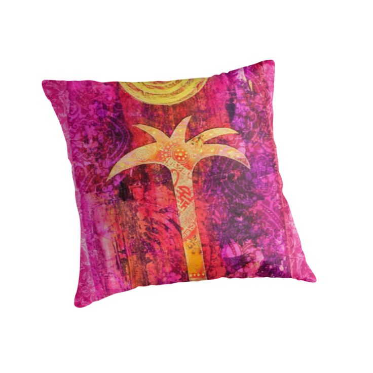 Colorful pillow with palm tree