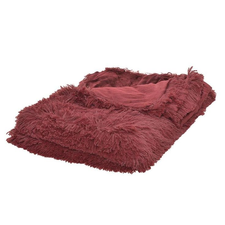SYNTHETIC FUR THROW IN BURGUNDY COLOR 150X180 - Furs - FABRIC ITEMS