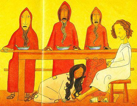 """O perfume e os pobres Seis dias antes da Páscoa, Jesus foi ao povoado de Betânia [que significa """"casa dos pobres""""]. Era lá que morava Lázaro, a quem ele tinha ressuscitado. Seus amigos e amigas prepararam um jantar para receber Jesus. Durante o jantar, Marta, a diaconisa, ajudava a servir os convidados, e Lázaro, a quem Jesus amava, era um dos que estavam à mesa fazendo-lhe companhia."""