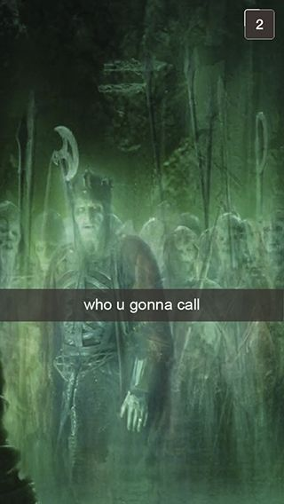 "Yo..Ghostbusters ..who else....;) 18 Snapchats From ""Lord Of The Rings"""
