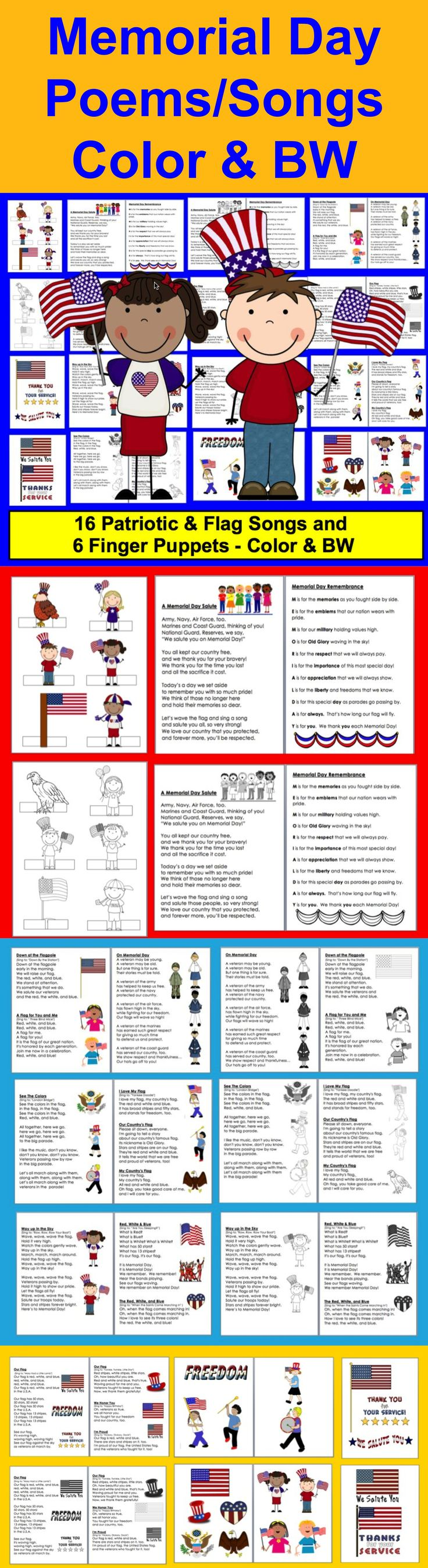 $ Memorial Day and Patriotic Poems and Songs –  29 page file – All Illustrated with Patriotic themed Graphics-2 Versions – Color and B/W. 16 Poems/Songs, some about Memorial Day and some about the flag and patriotism. Just choose those you like, and print just those pages. Larger patriotic images to cut out and glue onto shared reading charts.  Sing to familiar tunes, or chant.  Use some or all year after year.