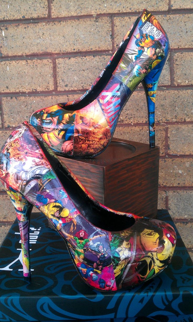 I totally want a pair of these for girls days out. X Men high heels not vintaged by FaithisFabulous on Etsy, $85.00