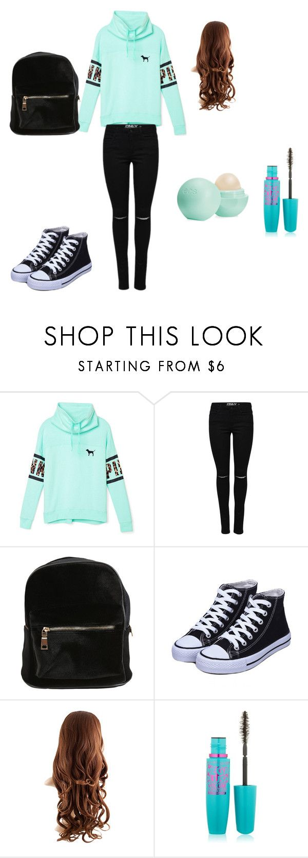 """Lazy Day Outfit for School"" by sari0914i on Polyvore featuring Victoria's Secret PINK, Maybelline and Eos"