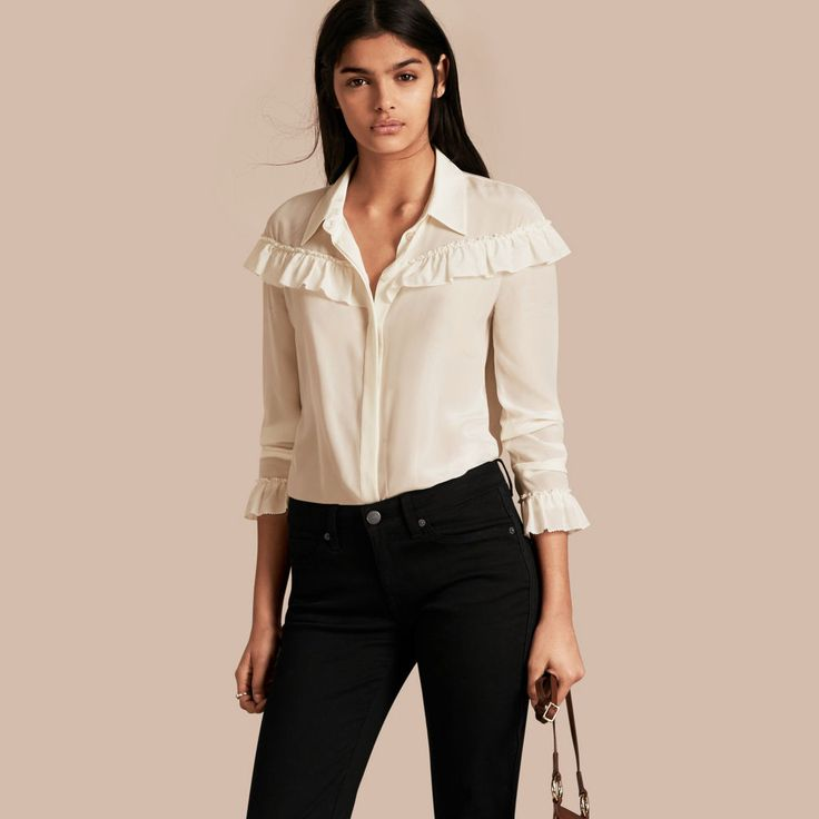 Frill Detail Silk Crepe De Chine Shirt Natural White | Burberry
