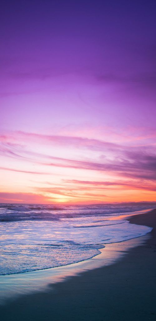 Samsung Galaxy A8+ Wallpaper with Sunset in Beach in 2020