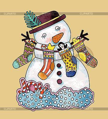 Рождественский снеговик | Векторный клипарт | ID 3101447