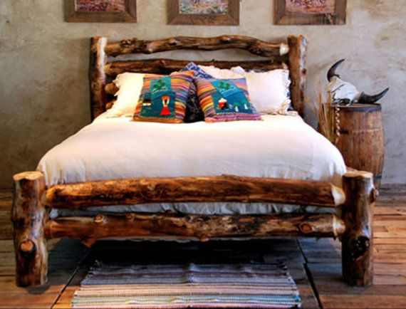 Rustic Aspen Log Bed 100 American Made door CoolOldSchoolVintage, $945,00