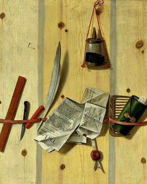 Unknown (English) Trompe l'Oeil of Letter Rack 18th century