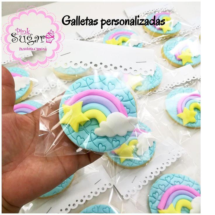 Rainbow cookies Rainbow cookies galletas personalizadas decoradas en fondant arcoiris unicornio nube estrella