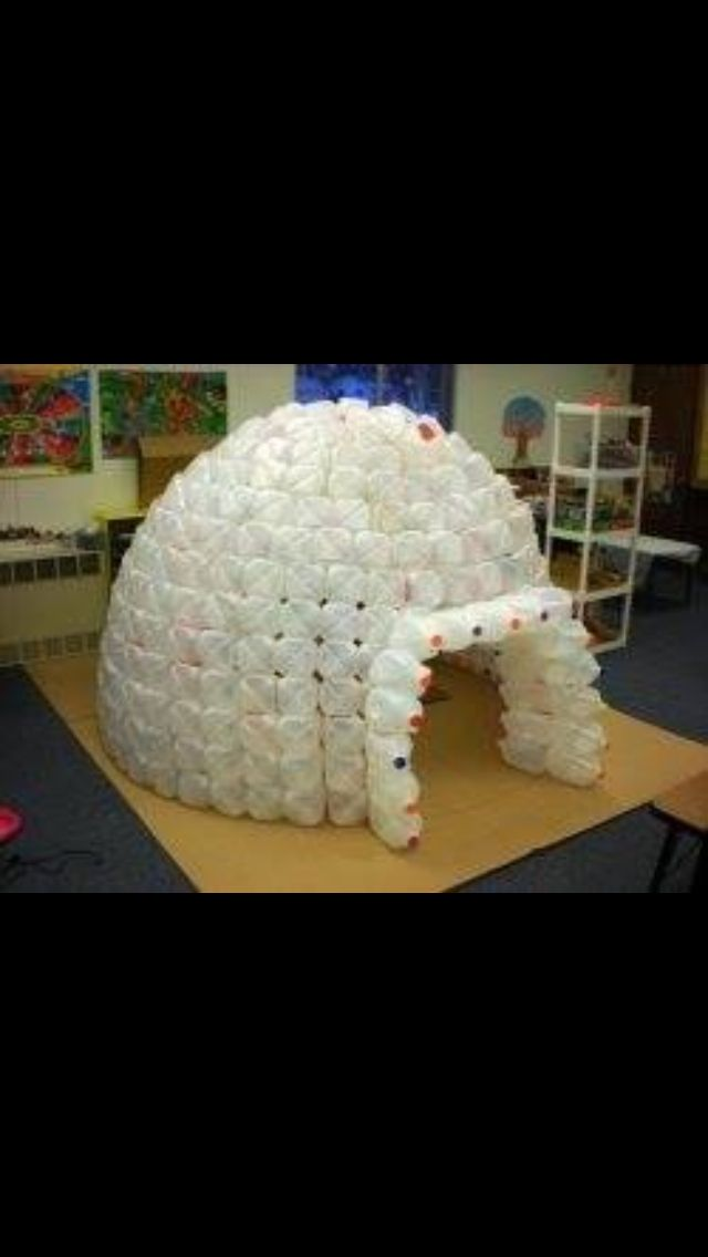 Igloo made out of empty milk jugs. Perfect idea for winter theme in dramatic play center! #preschool #ideas