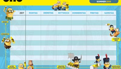 Minions pruntable timetable