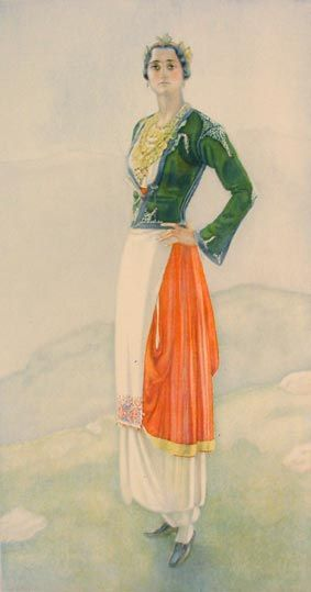 NICOLAS SPERLING Peasant Woman's Dress (Crete, Anogia) 1930  lithograph on paper after original watercolour (37x20)