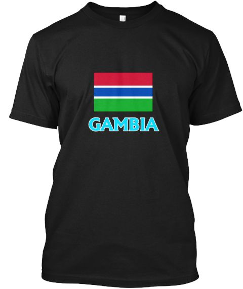 Gambia Flag Classic Blue Design Black T-Shirt Front