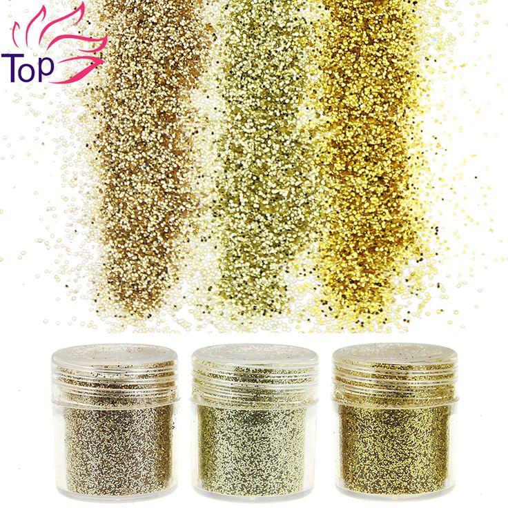 3 Bottle/Set Gold Sequin Dust Gem Nail Glitter Decorations Acrylic UV Glitter Powder 3D Nail Art BG061-063