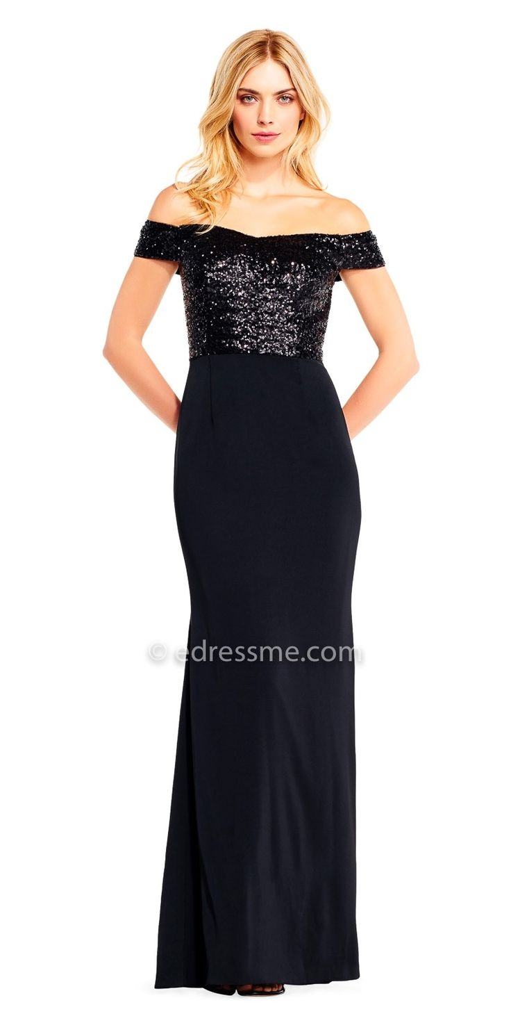Off the Shoulder Sequin Embellished Evening Dress by Aidan Mattox