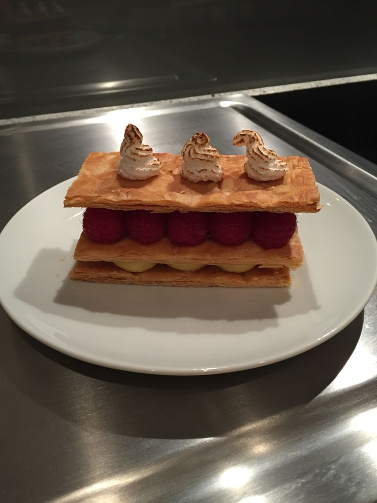 Raspberry Mille Feuille with vanilla creme pat and blowtorched Italian Meringue.  A good experiment and tasted great.  Next time I think I will add another layer of creme pat.
