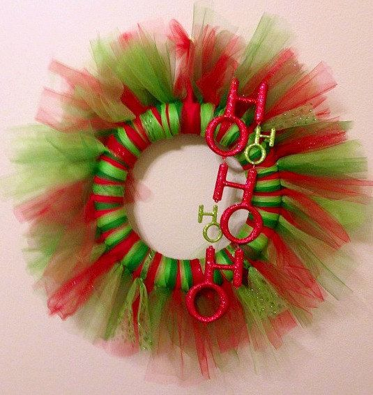 "Holiday Red and Green Tulle Christmas Wreath ""Ho Ho Ho"" on Etsy, $25.00"