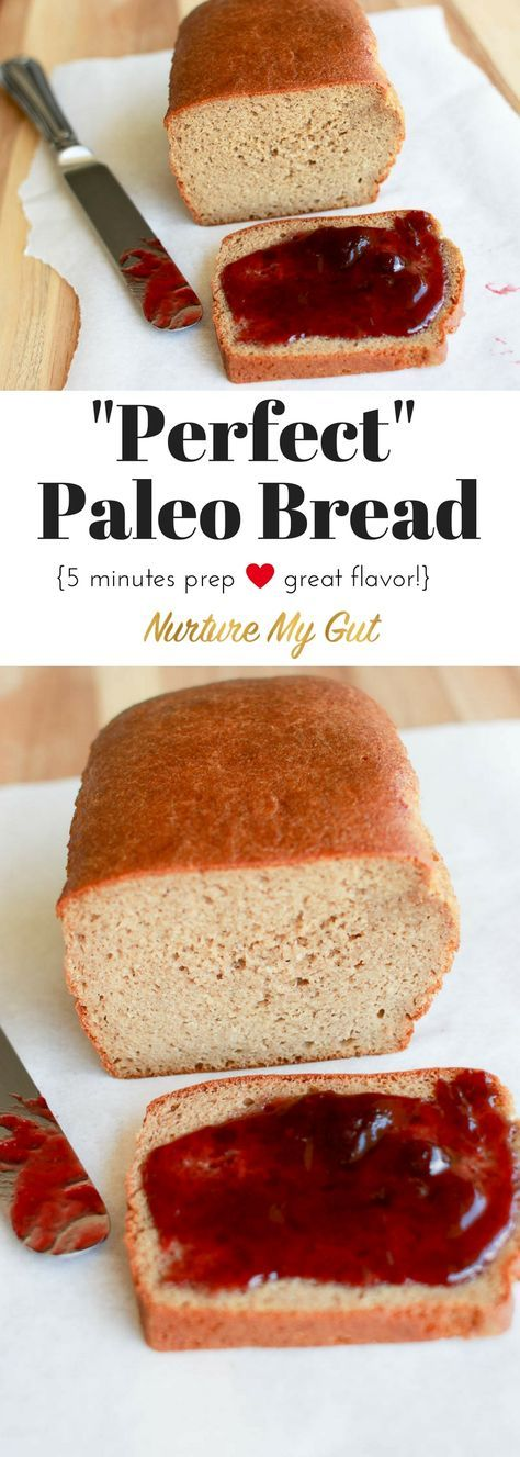 Perfect Paleo Bread takes only 5 minutes prep time and tastes like a whole wheat bread. Toasts beautifully and can be used for sandwiches, stuffing and bread pudding. Flavorful, moist and great texture! Grain free, gluten free, dairy free.