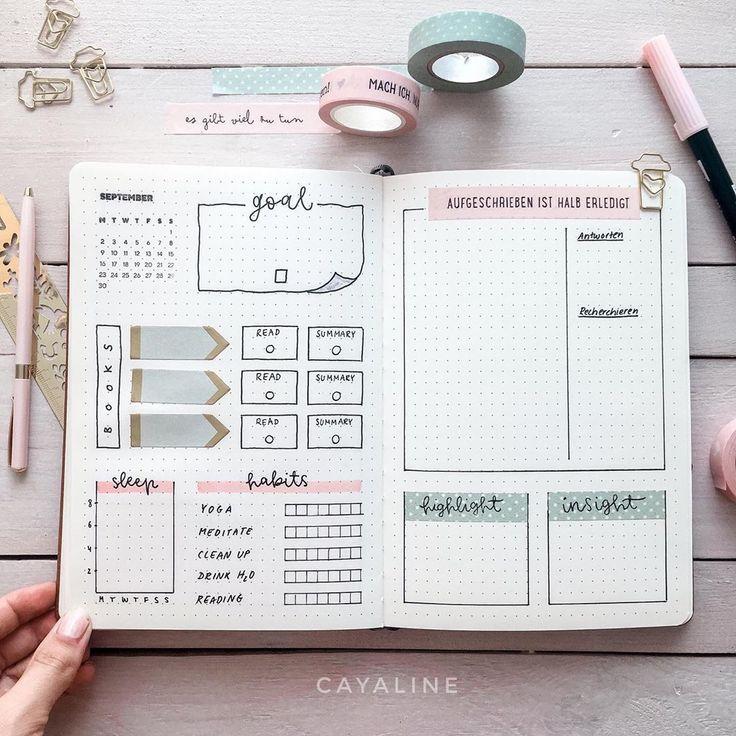 Lese-Tracker, Ziel, Aufgaben, Schlaf-Tracker, Gewohnheits-Tracker, Höhepunkt der Woche, Einblick der Woche