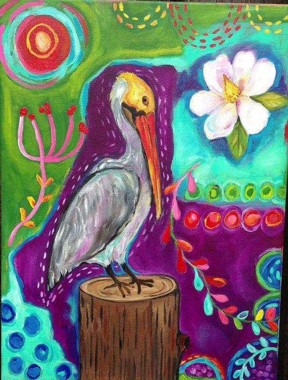 Louisiana Pelican Wall Art Intuitive Painting