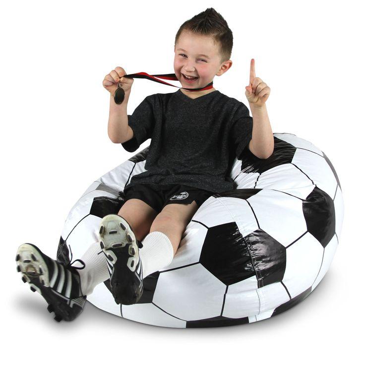 Soccer Ball Junior Sports Vinyl Pure Bead Bean Bag, Beige