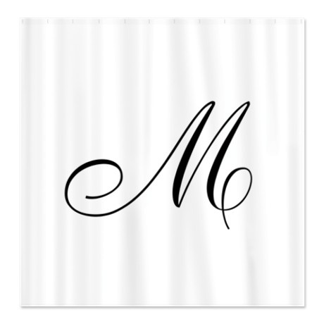 Ornate Script Monogram Letter M In Black Shower Curtain These Are Made To