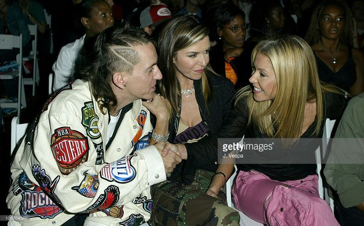 Jeremy Scott, Finola Hughes and Kelly Ripa during Mercedes-Benz Fashion Week Spring 2004 - Absolut Lifestyle and Honey Magazine Present House of Field - Front Row and Backstage at Gotham Hall in New York City, New York, United States.
