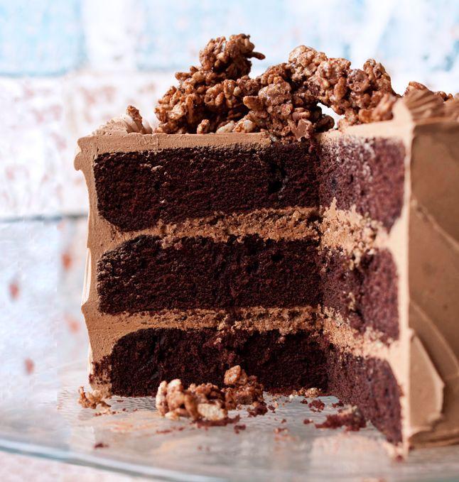 Devil's Food Cake with Hazelnut Crunch.: Layered Cakes, Devilfood, Hazelnut Crunches, Chocolates Cakes, Bon Appetit, Cakes Recipe, Nutella Recipe, Devil Food Cakes, Birthday Cakes