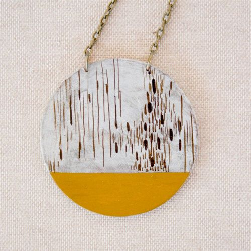 Hand painted geometric pendant  yellow pendant by VictoriAtelier